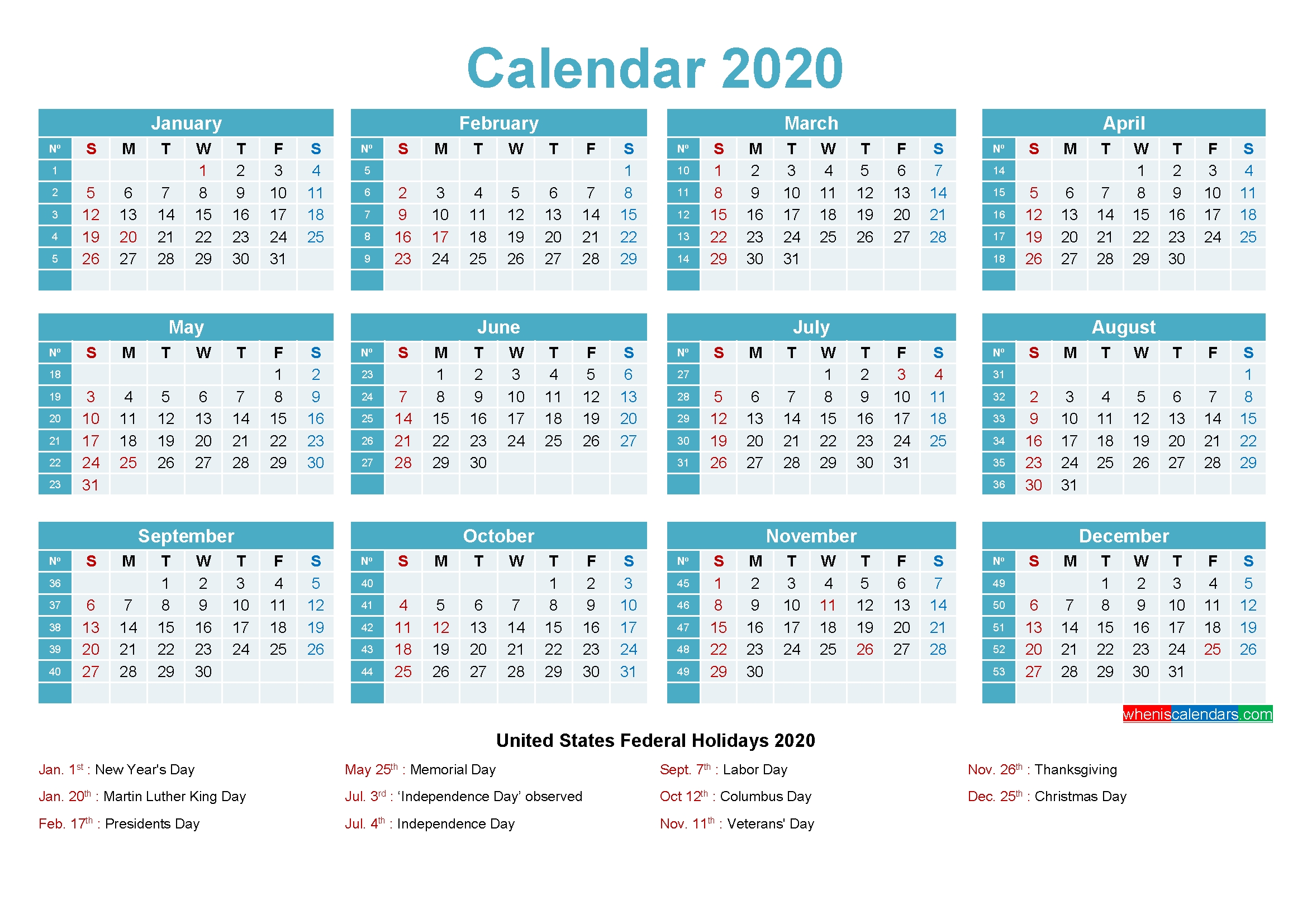 2020 Calendar With Holidays Printable Word, Pdf – Free