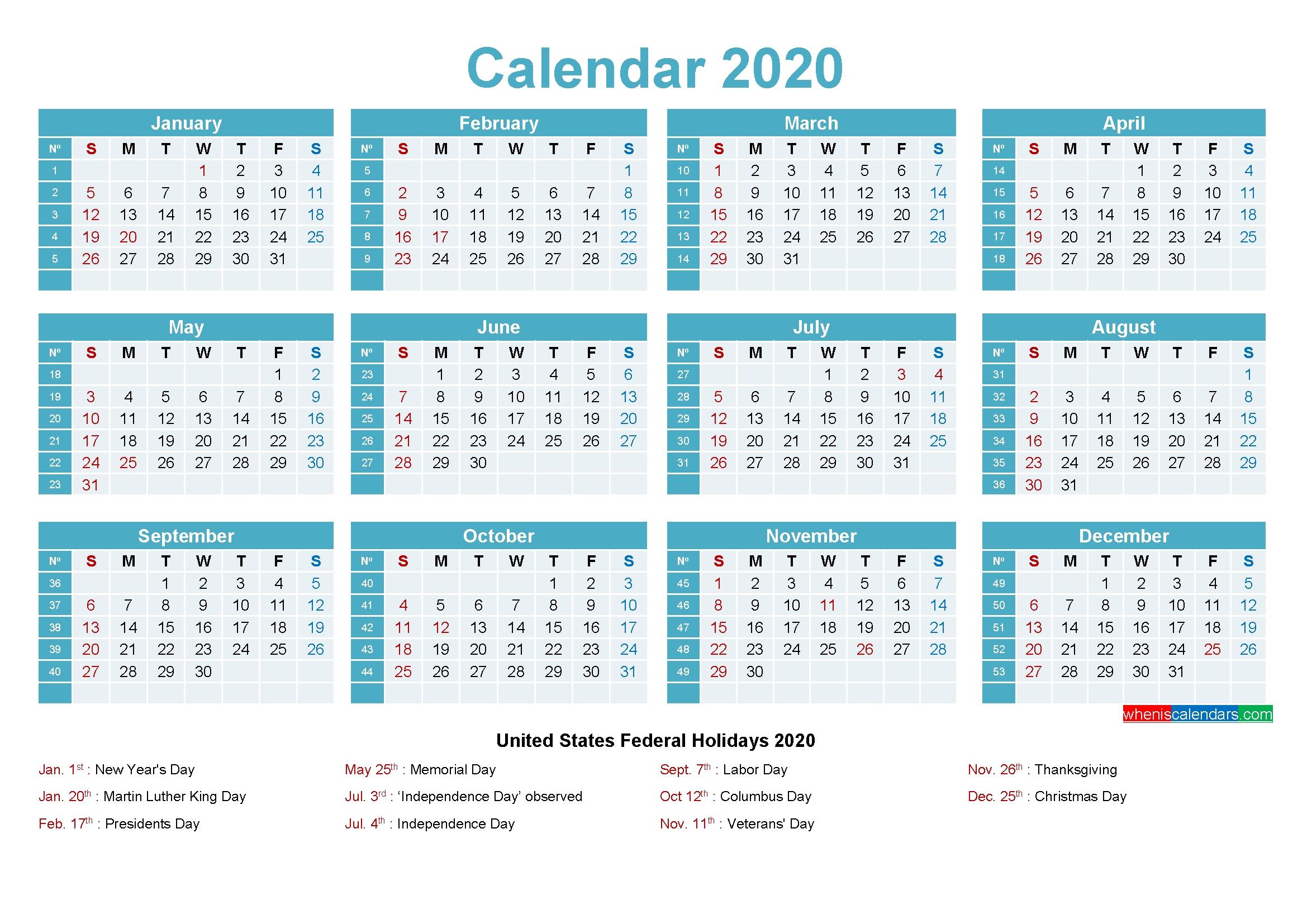 2020 Calendar With Holidays Printable Word, Pdf – Free
