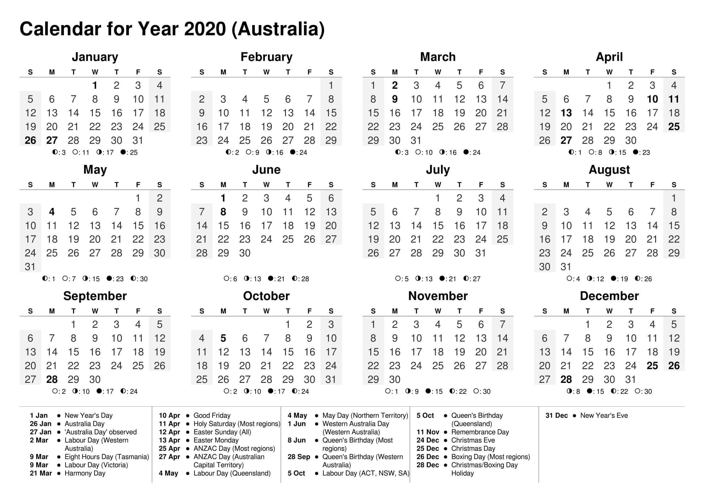 2020 Calendar With Holidays Victoria Australia | Free