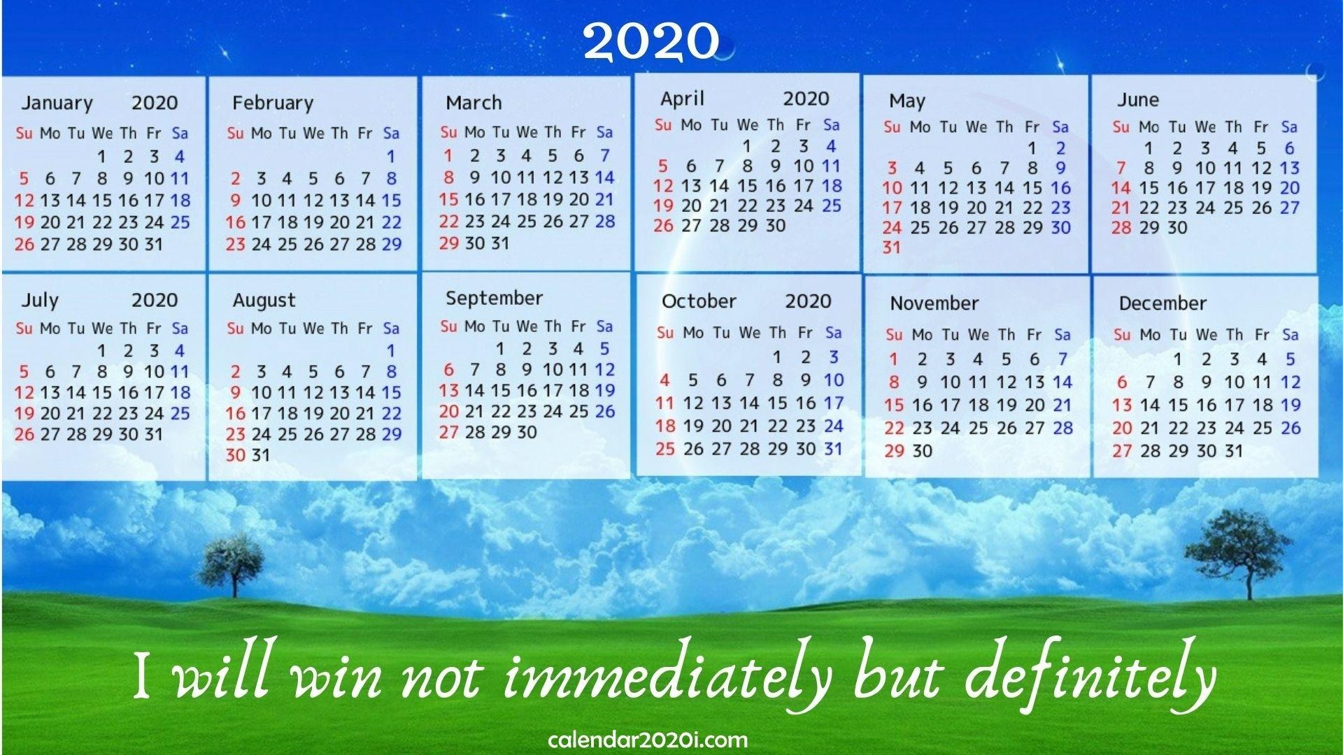 2020 Calendar With Inspirational Quotes, Sayings | Calendar 2020