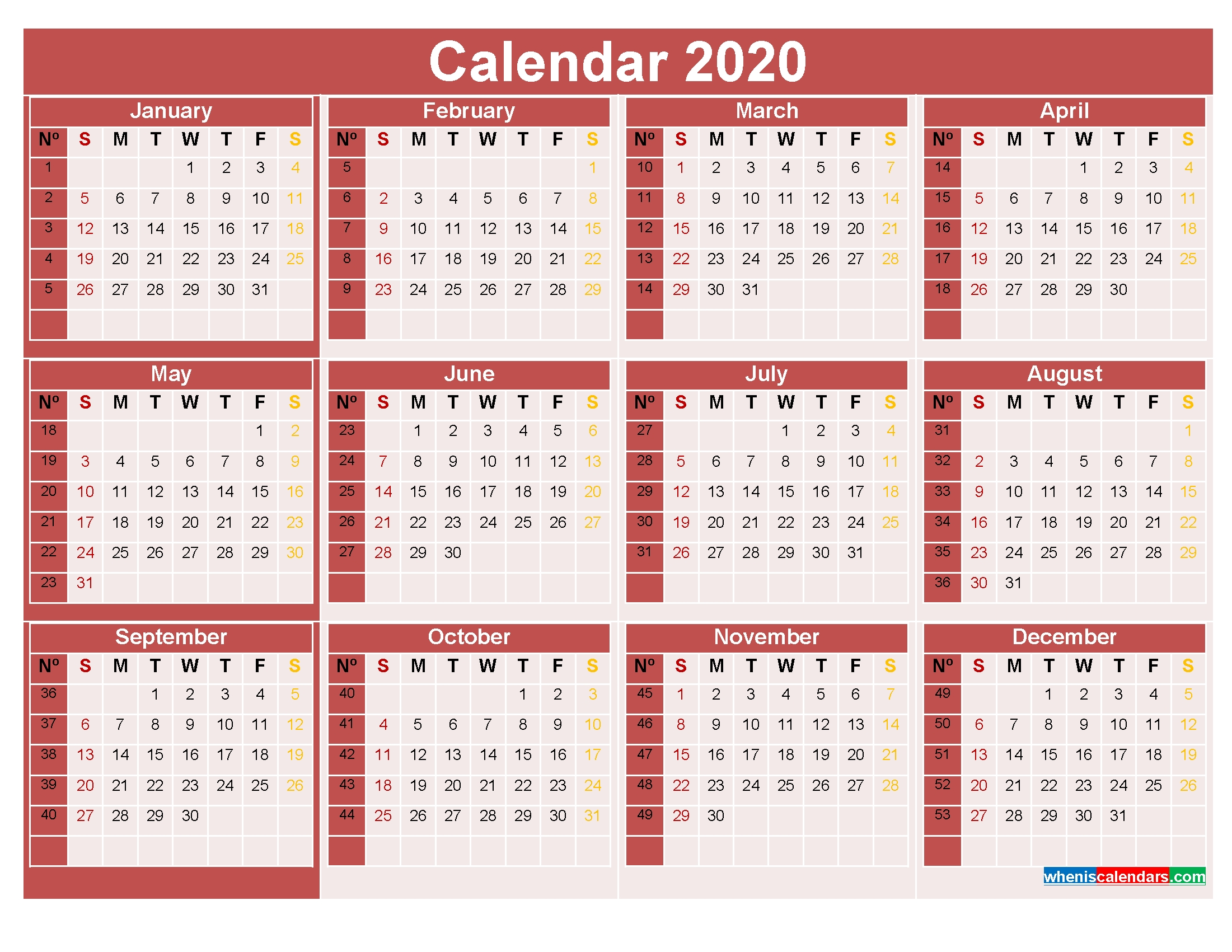 2020 Calendar With Week Numbers Printable Word, Pdf – Free