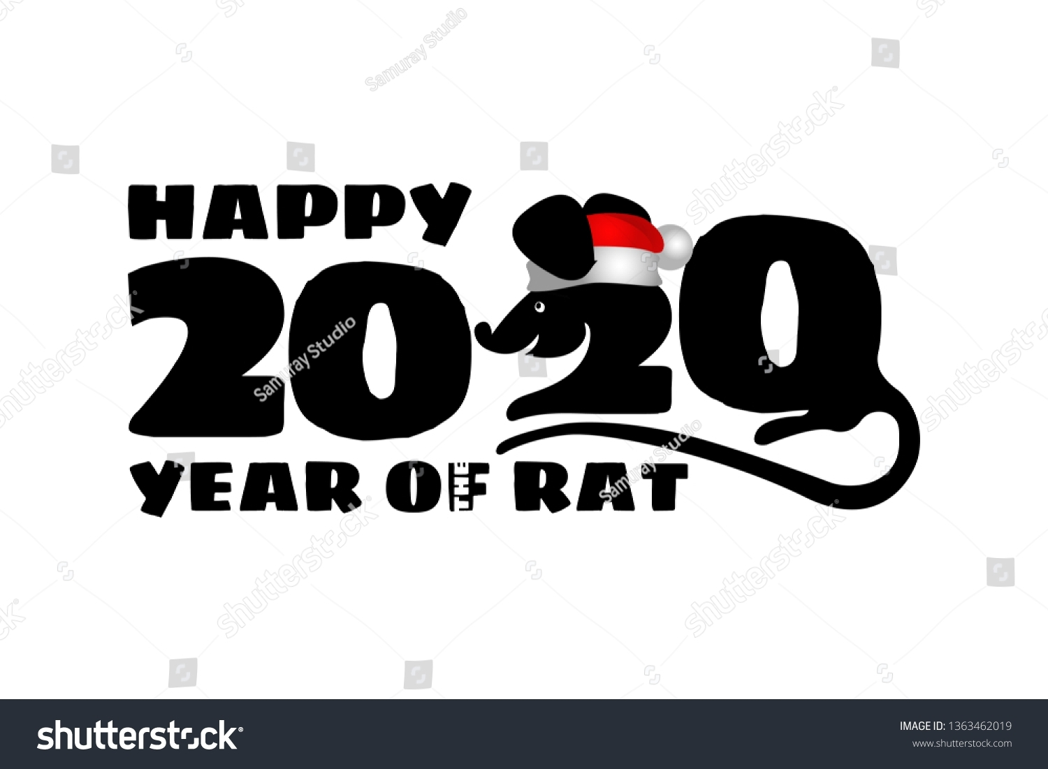 2020 Chinese New Year Rat Calendar Stock Vector (Royalty