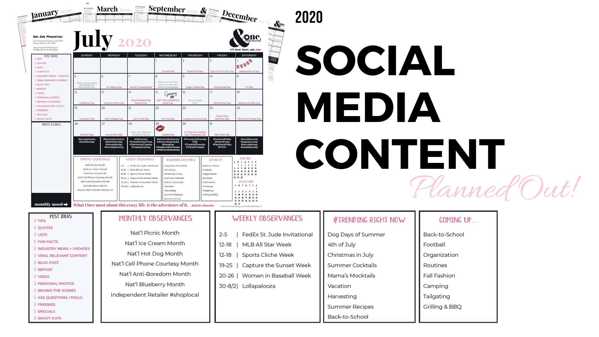 2020 Content Planner - Shop Now | And One Marketing