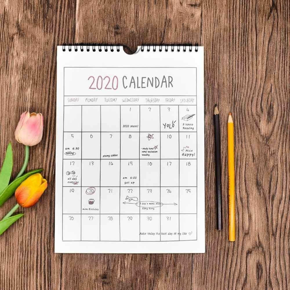 2020 Daily Schedule Monthly Hanging Paper Organizer Wall Calendar Office  Hand Drawing Annual Planner 365 Days Academic