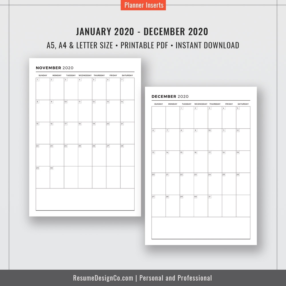 2020 Dated Monthly Calendar, 12 Months, Monthly Planner, Calendar 2020, A4,  A5, Letter Size, Filofax A5, Printable Planner Inserts, Instant Download