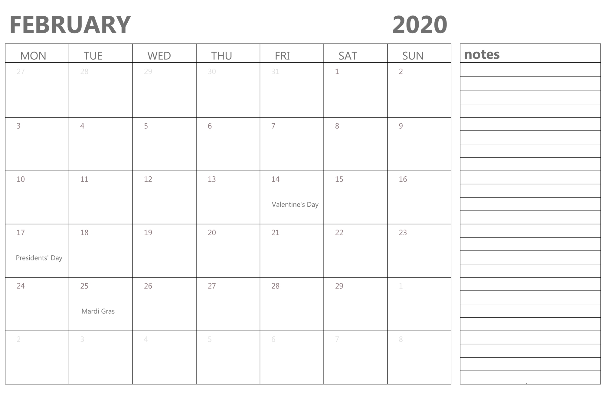2020 February Calendar With Notes - 2019 Calendars For