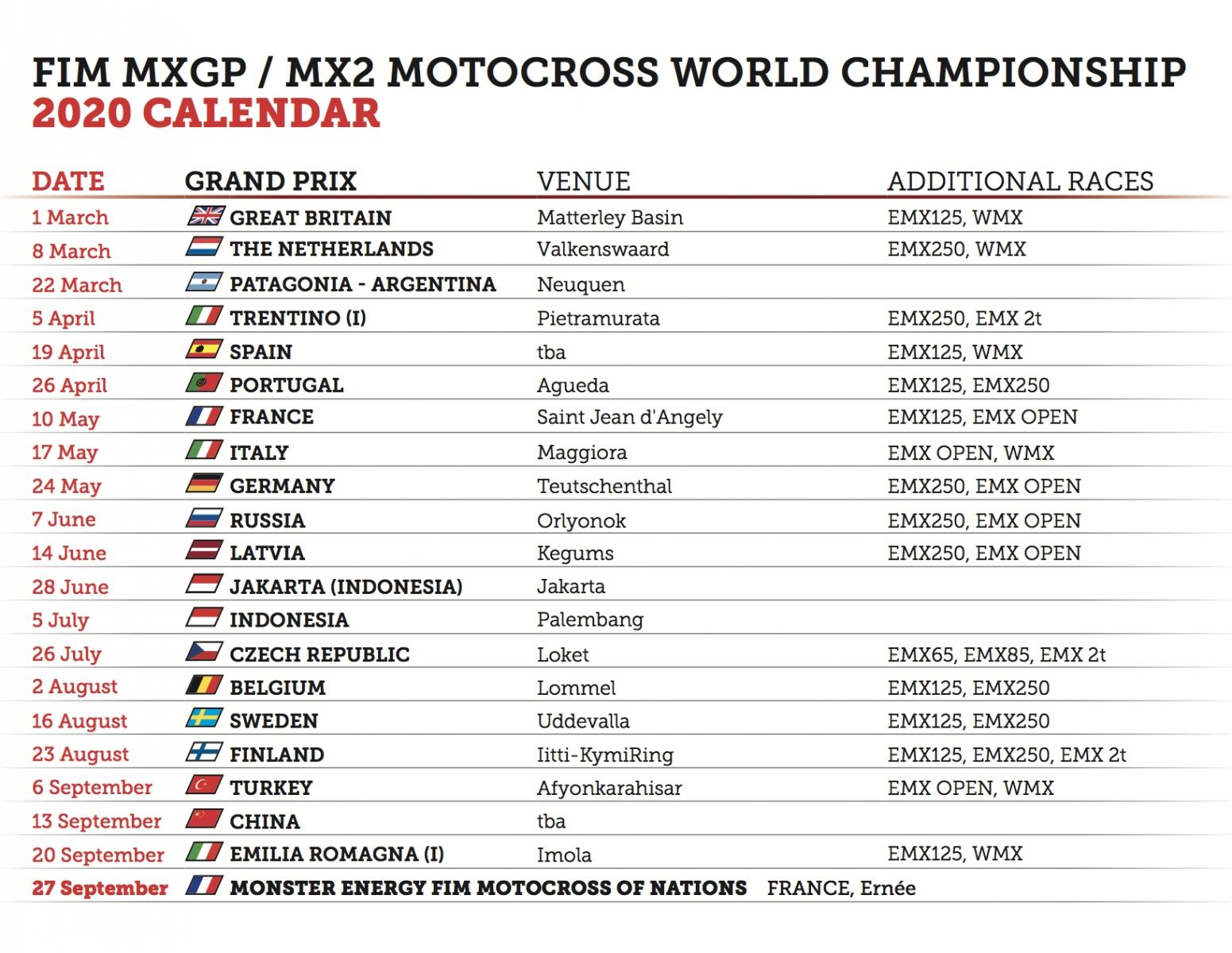 2020 Fim Motocross World Championship Official Calendar | Mxgp