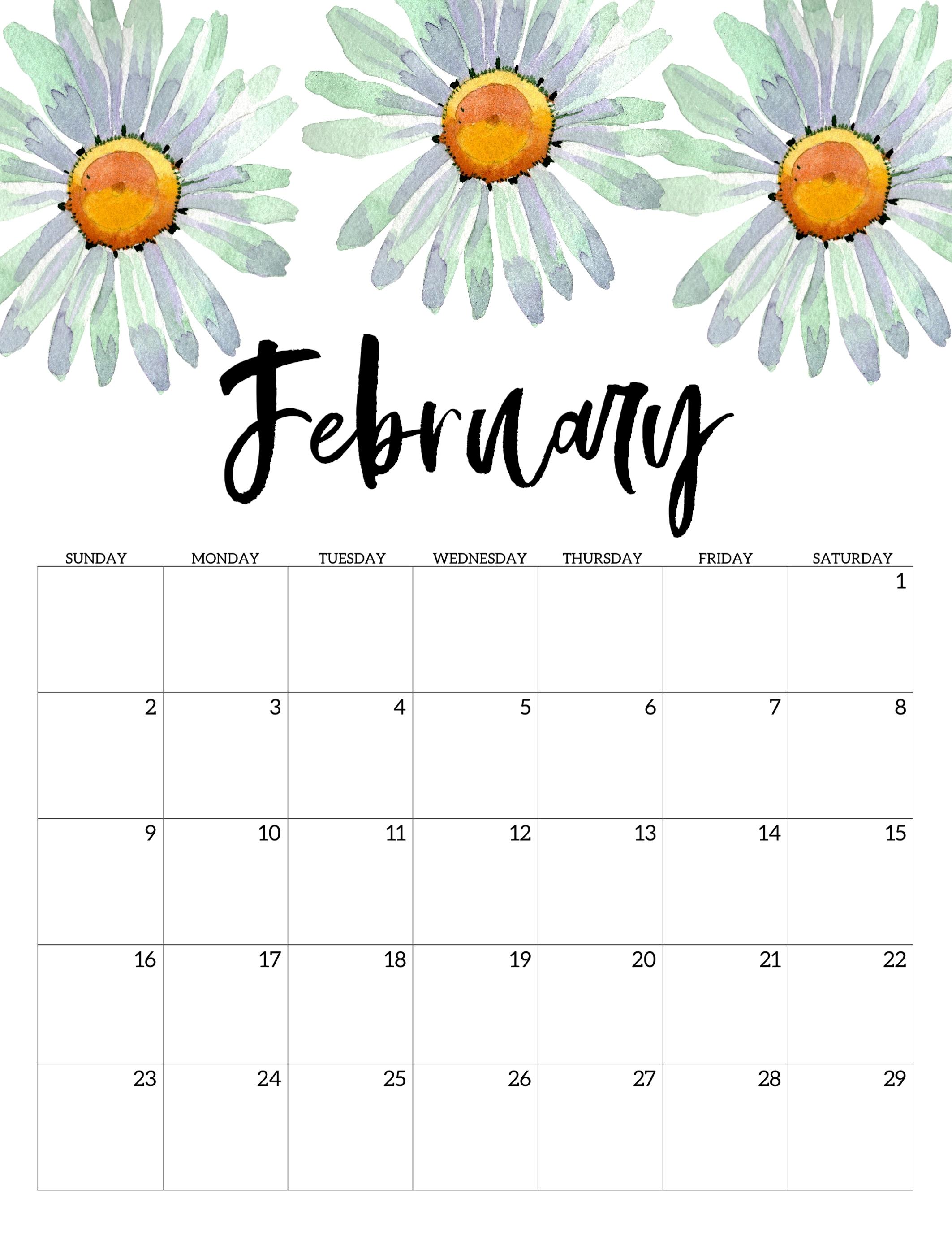 2020 Free Printable Calendar - Floral - Paper Trail Design