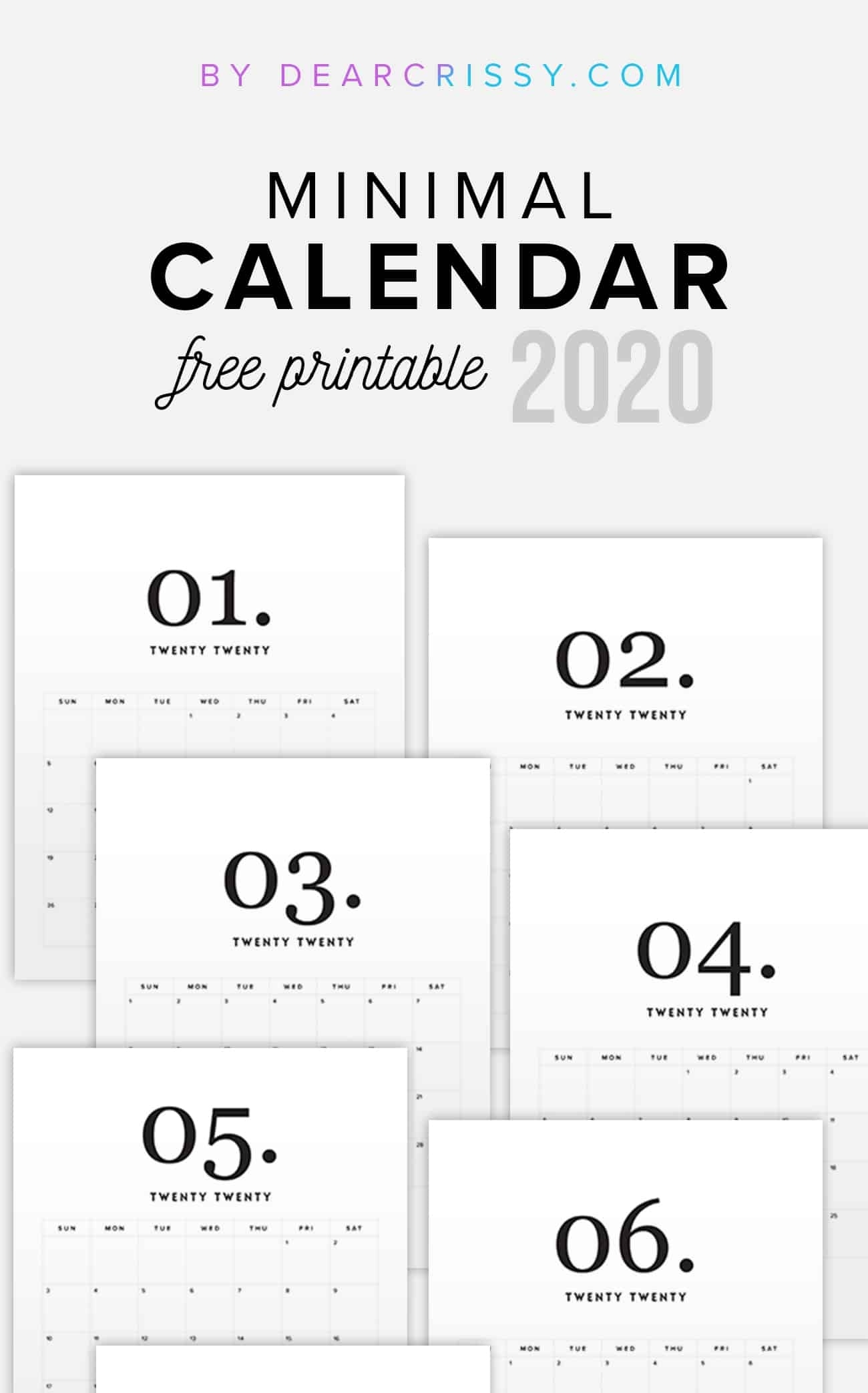 2020 Free Printable Calendar - Minimal Modern Calendar