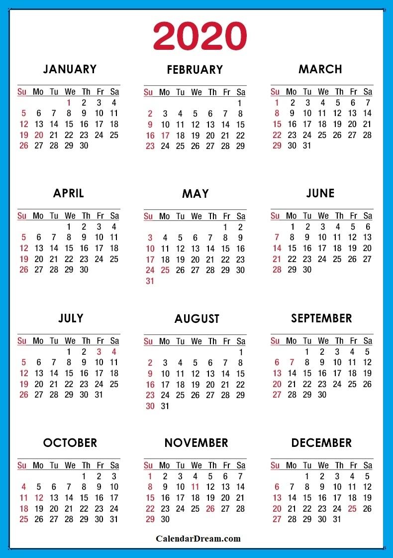 2020] Free Printable Usa Calendar Templates [Pdf]   Calendar