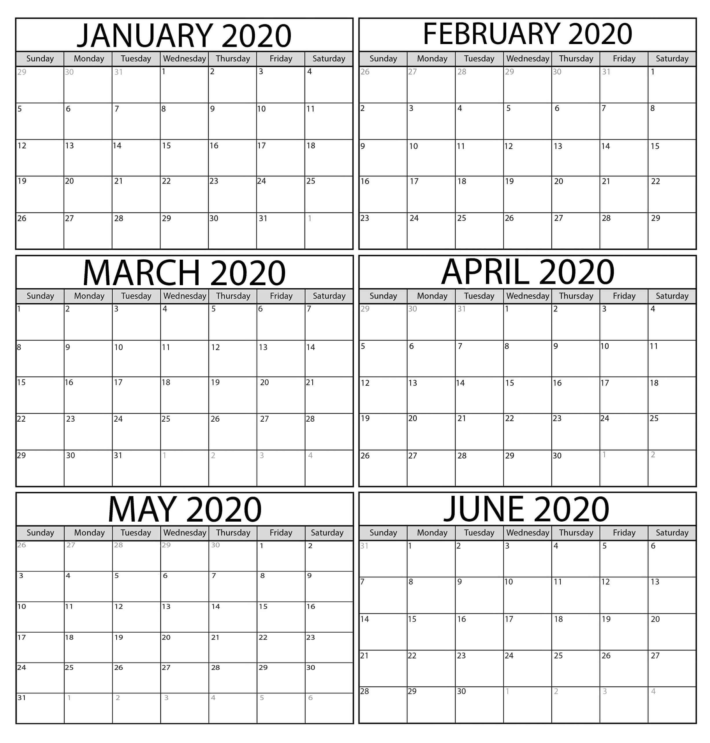 2020 January February Calendar Word | Free Printable