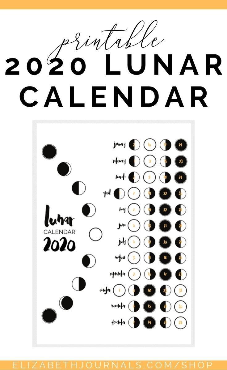 2020 Lunar Calendar Bullet Journal Printable | Ideas De