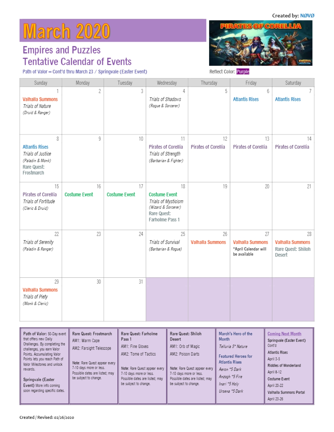 2020 March Calendar Of Events (Dates Are Tentative And May