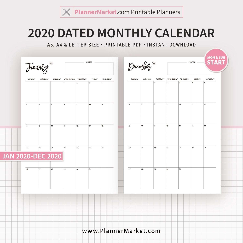 2020 Monthly Calendar, 12-Month Calendar, Printable Planner