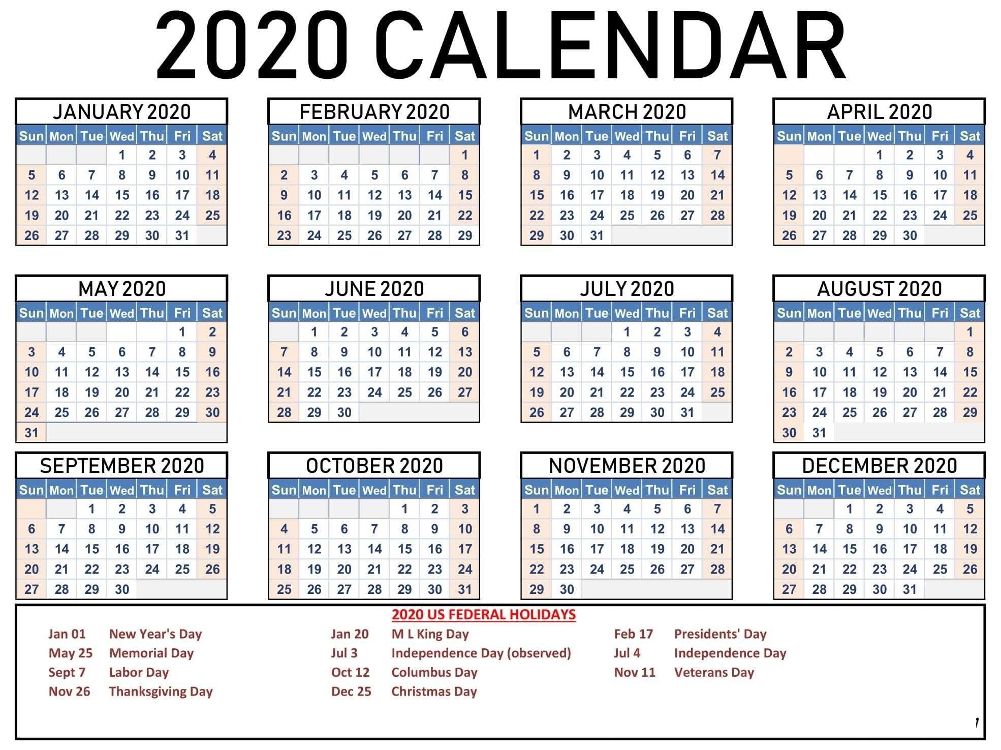 2020 One Page Calendar Printable Download In 2020 | Calendar