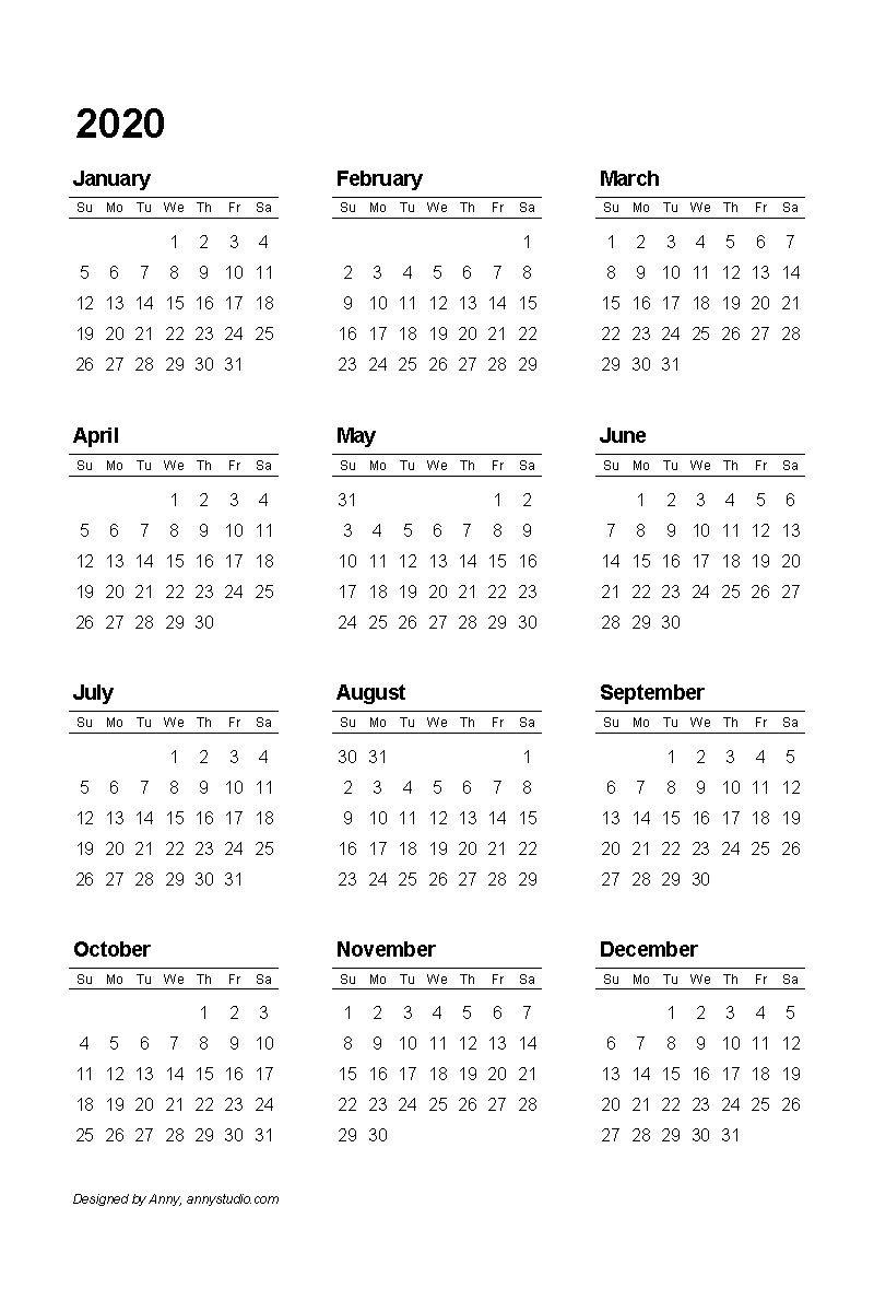 2020 Pdf Printable Calendar | Printable Calendar Template