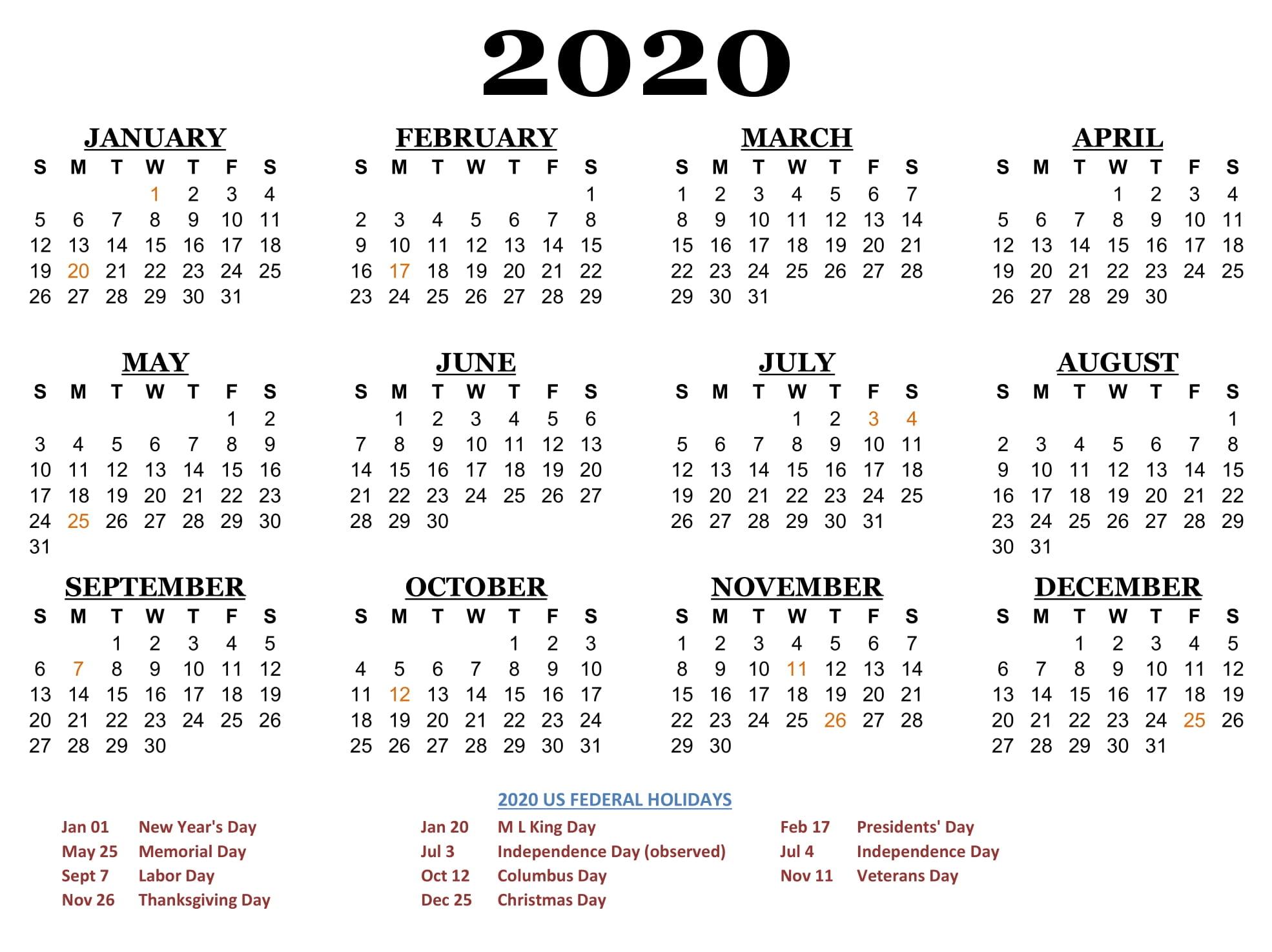 2020 Printable Calendar Yearly Templates – 2020 Free Calendar