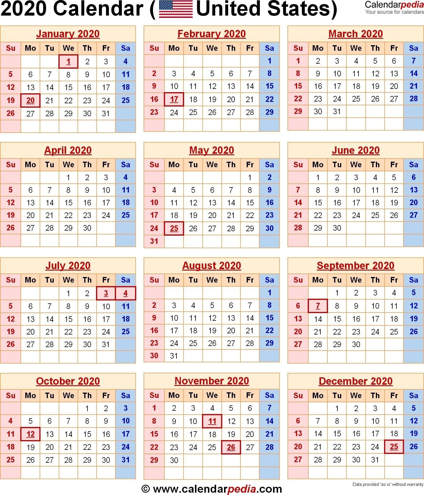 2020 Us Calendar Printable Di 2020 (Dengan Gambar