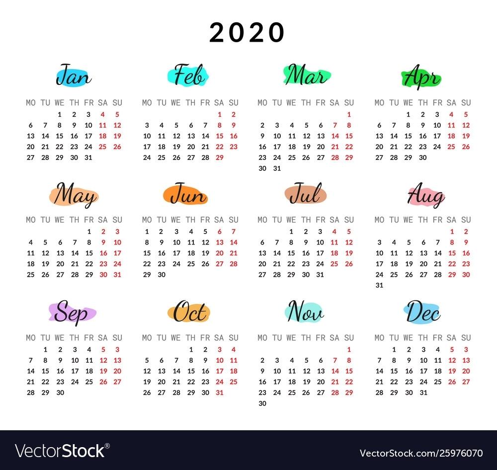 2020 Year Creative Calendar Isolated On White