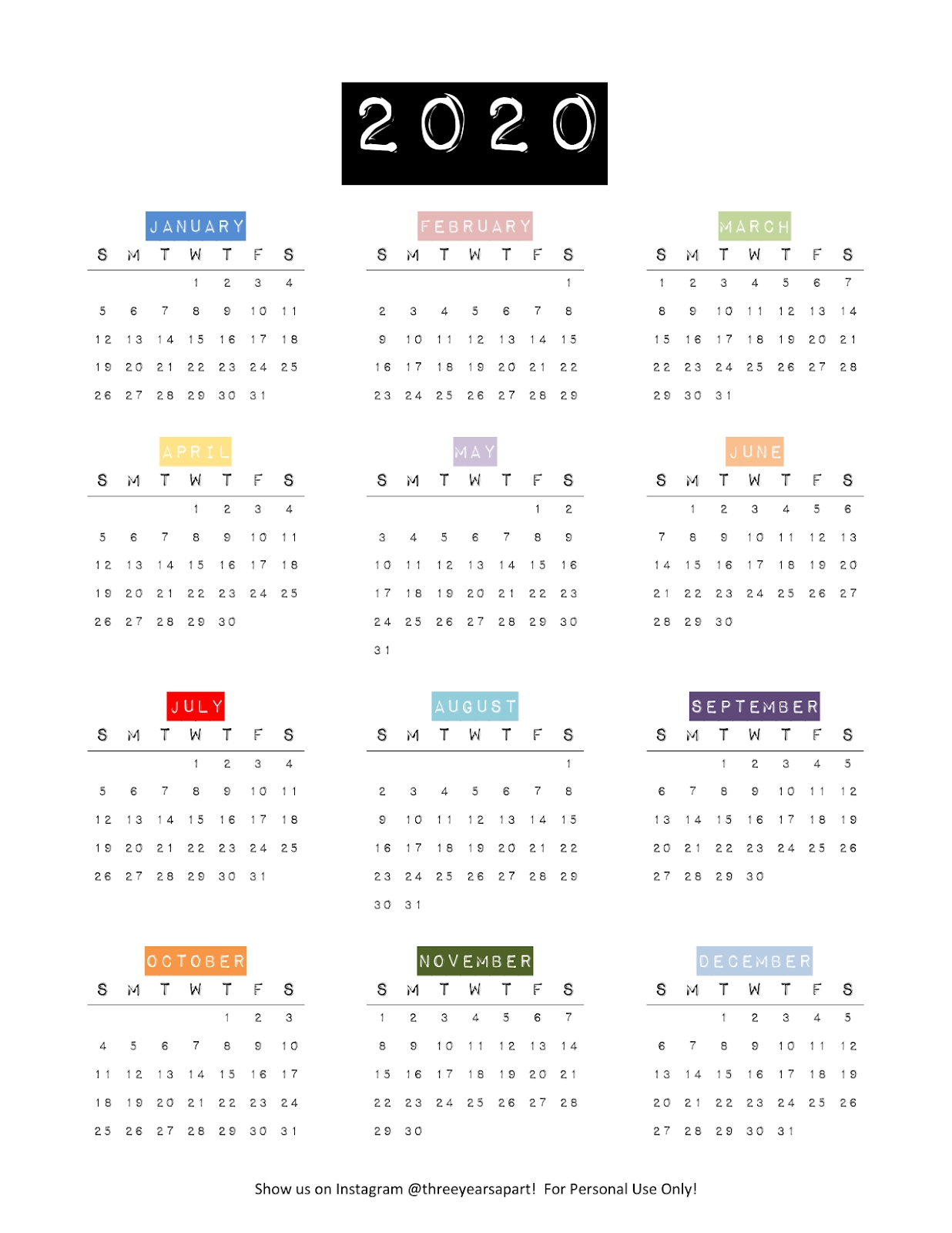 3 Year Calendar At A Glance | Month Calendar Printable