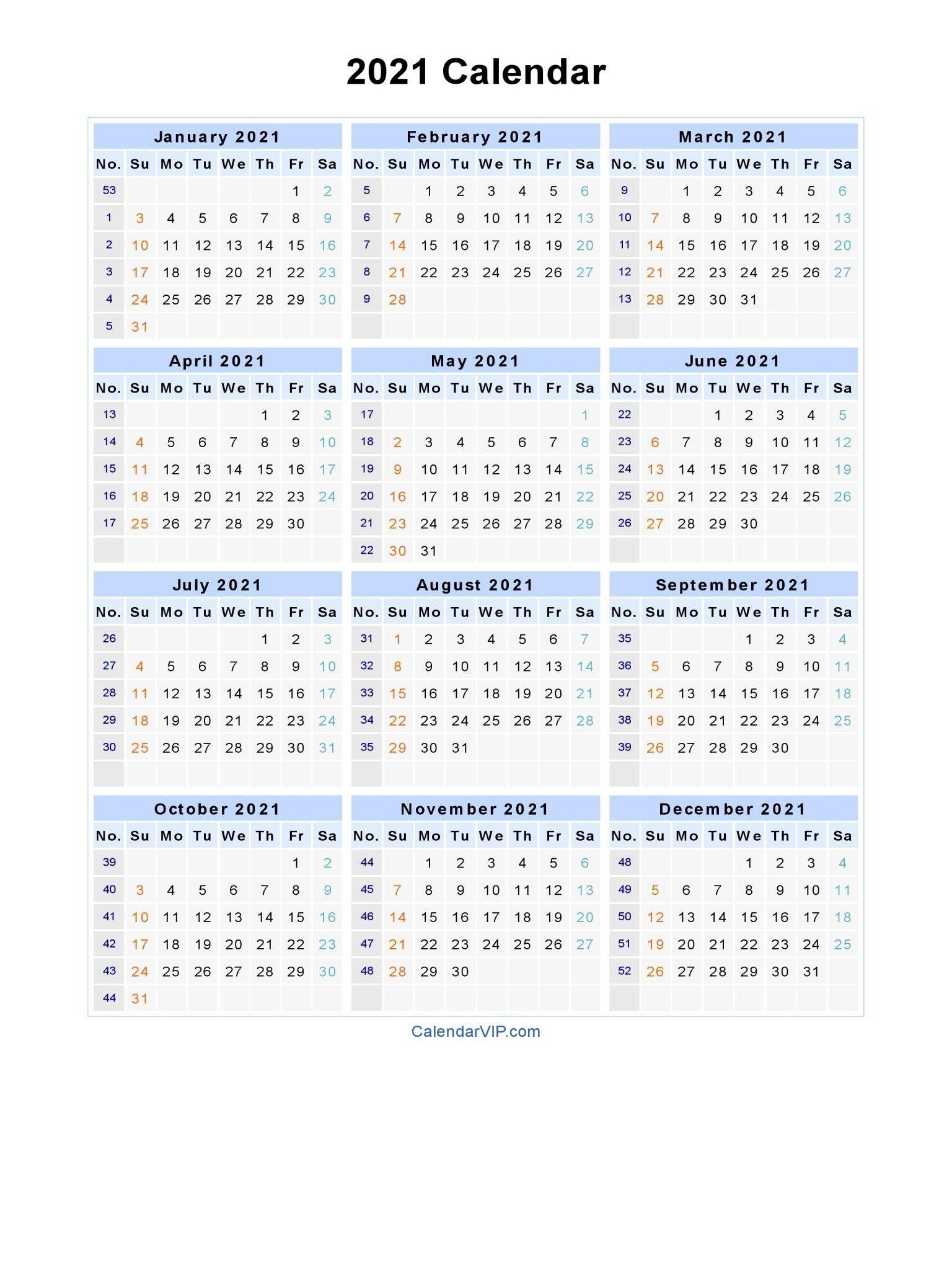 2021 Calendar With Week Numbers Excel Full In 2020