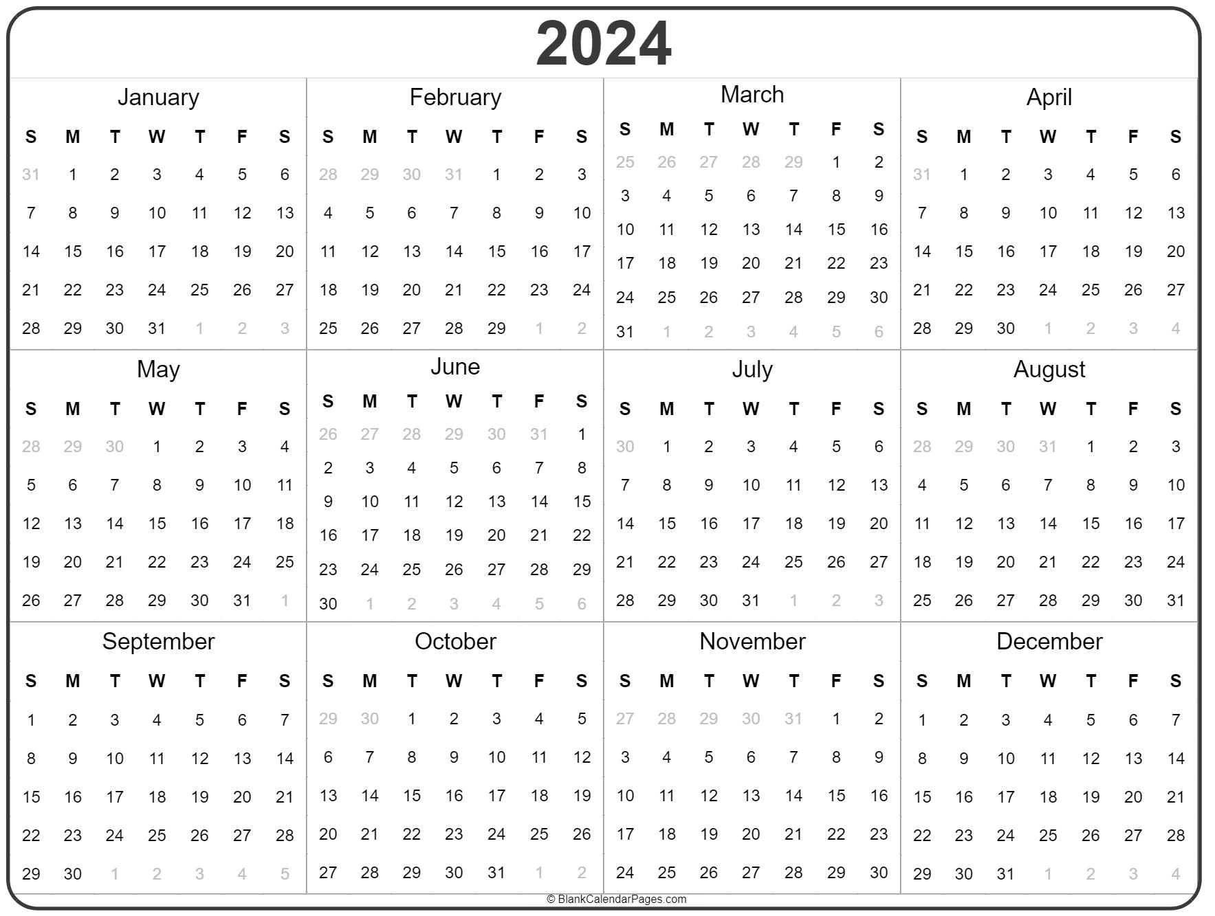 2024 Year Calendar | Yearly Printable