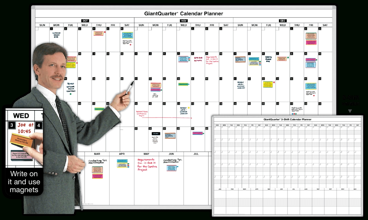 3-Month Dry Erase Calendar Whiteboards - Magnatag