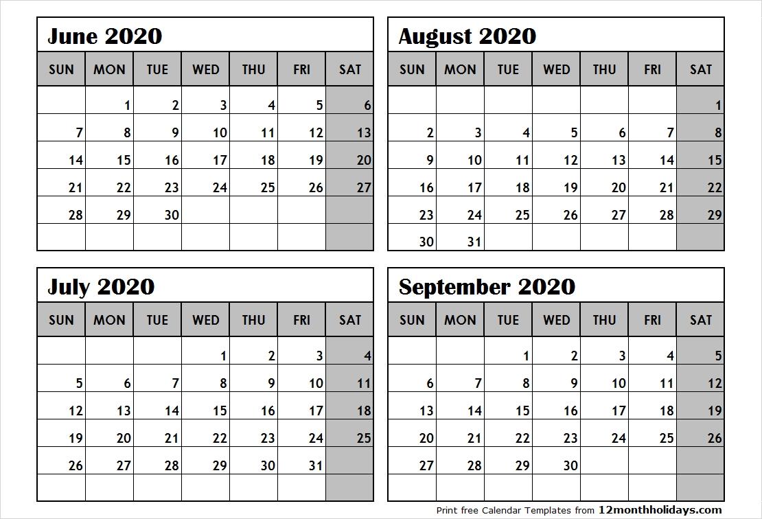 4-Month-Calendar-June-To-September-2020 - All 12 Month