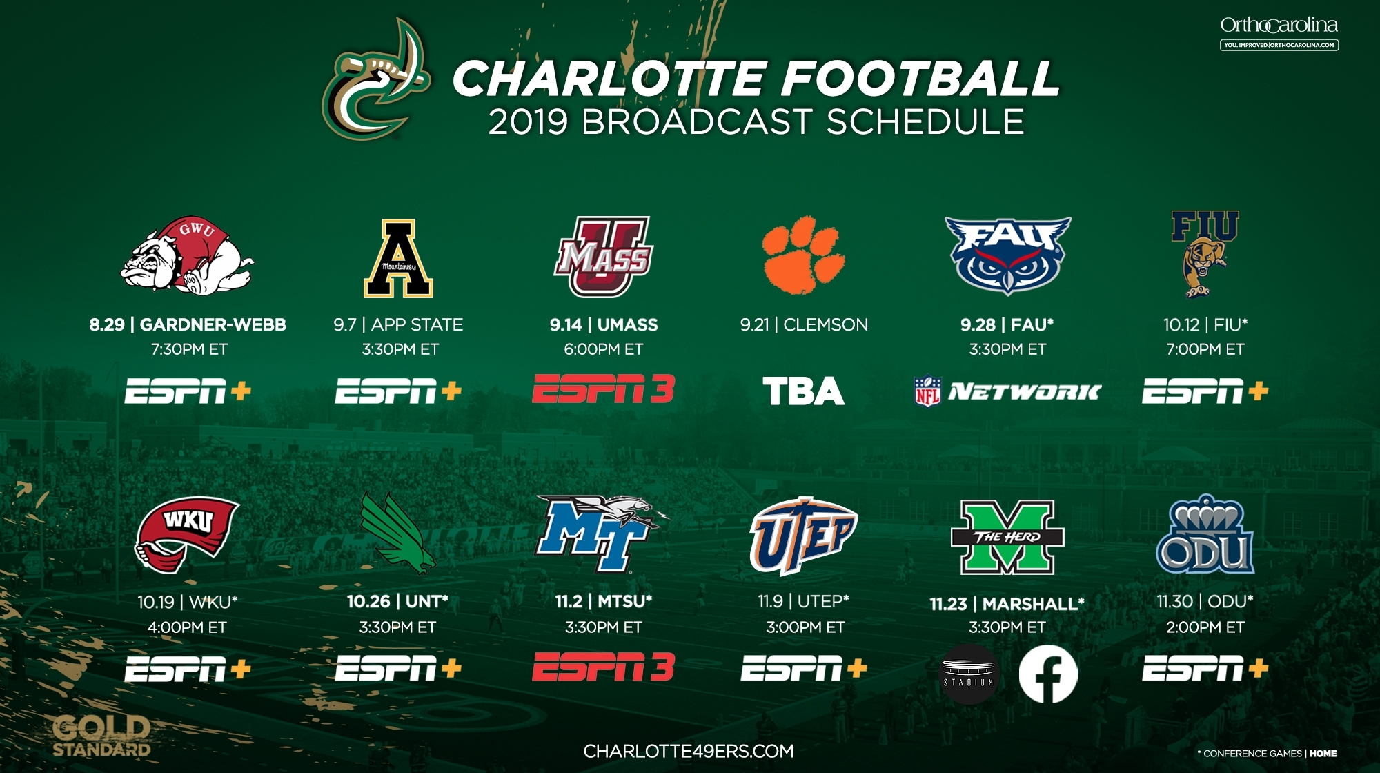 49Ers Announce Football Broadcast Schedule - Charlotte Athletics