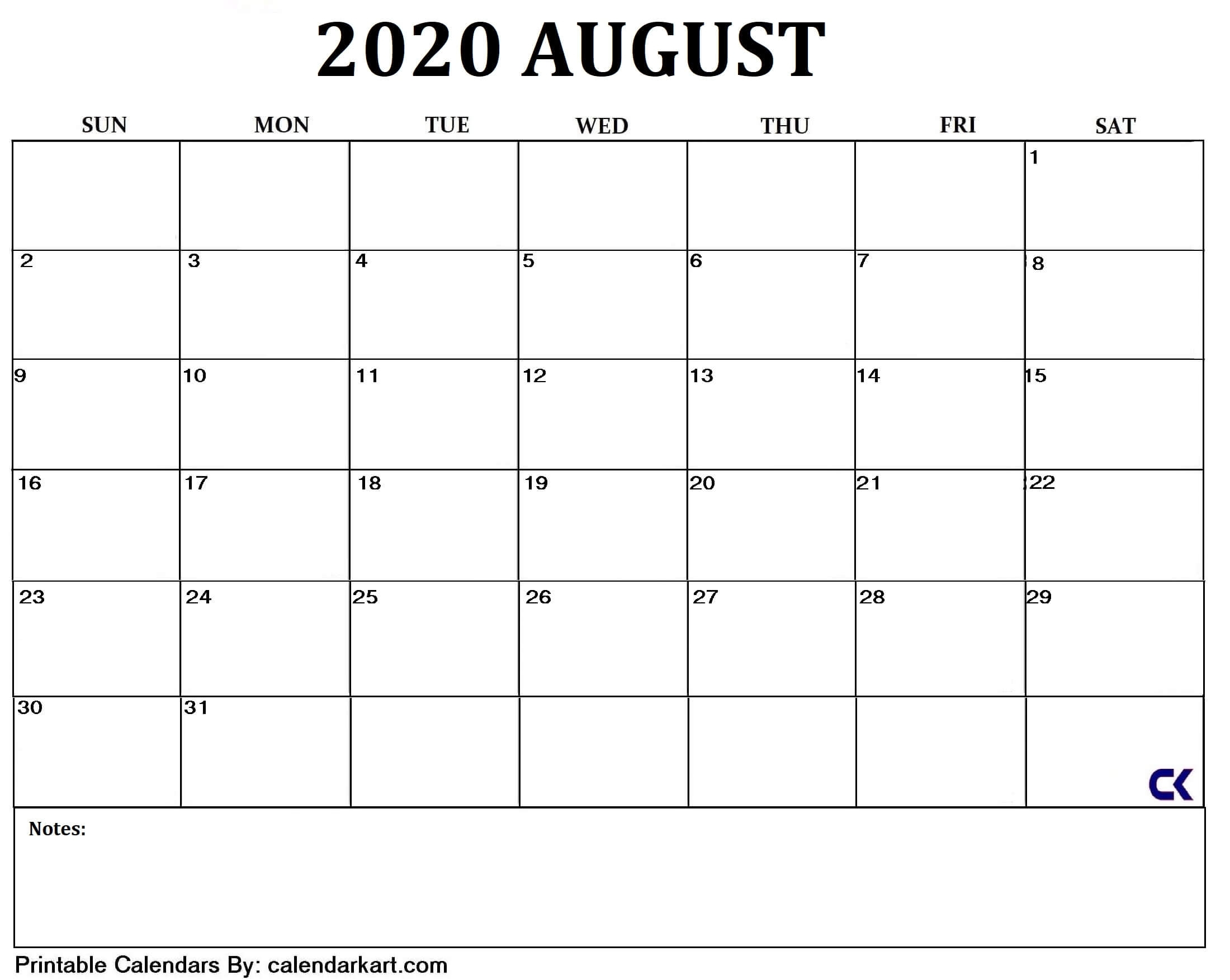 5 Free Printable August 2020 Calendar [Word, Excel, Pdf