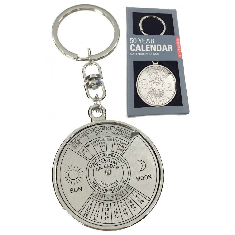 50 Year Calendar Keychain Silver Metal : Scientific Key Ring