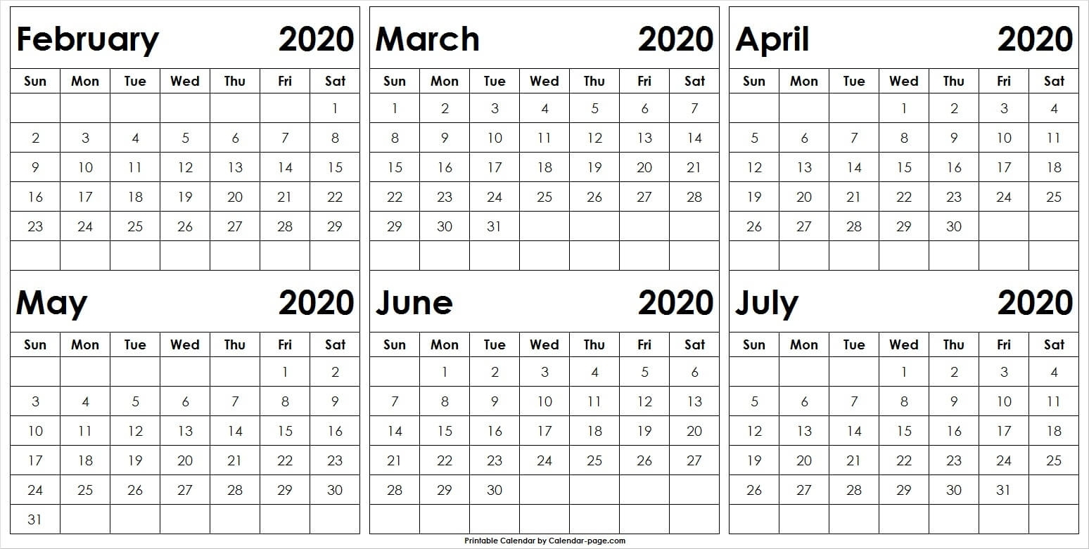 6 Month February To July 2020 Calendar Template | Pinterest