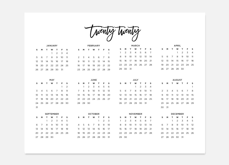 8.5X11 Printable 2020, Simple Calendar, 2020 Landscape Calendar, 2020  Calendar, 2020 Year Calendar, 2020 At A Glance Calendar, 2020 Planner