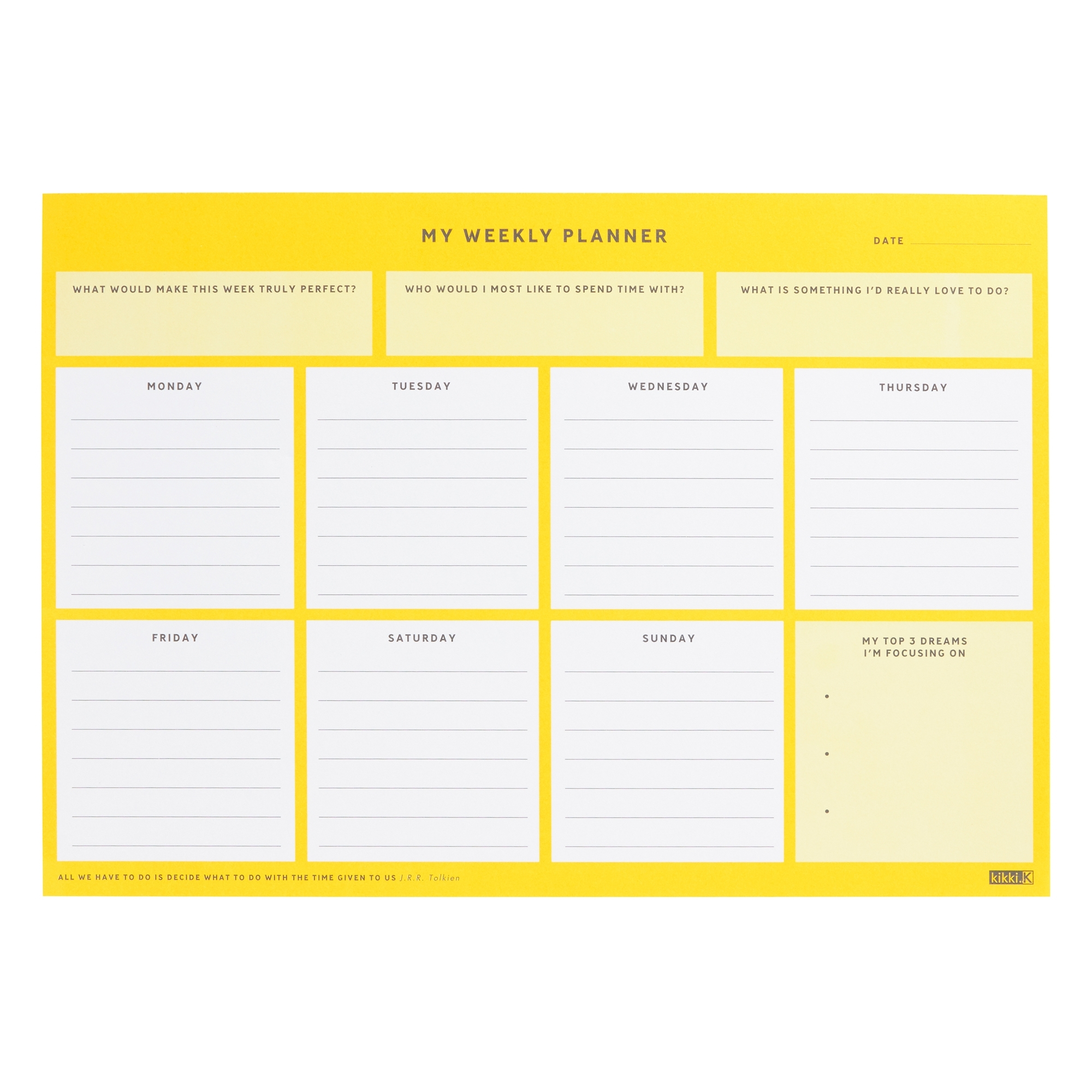 A4 Weekly Planner Pad: Inspiration