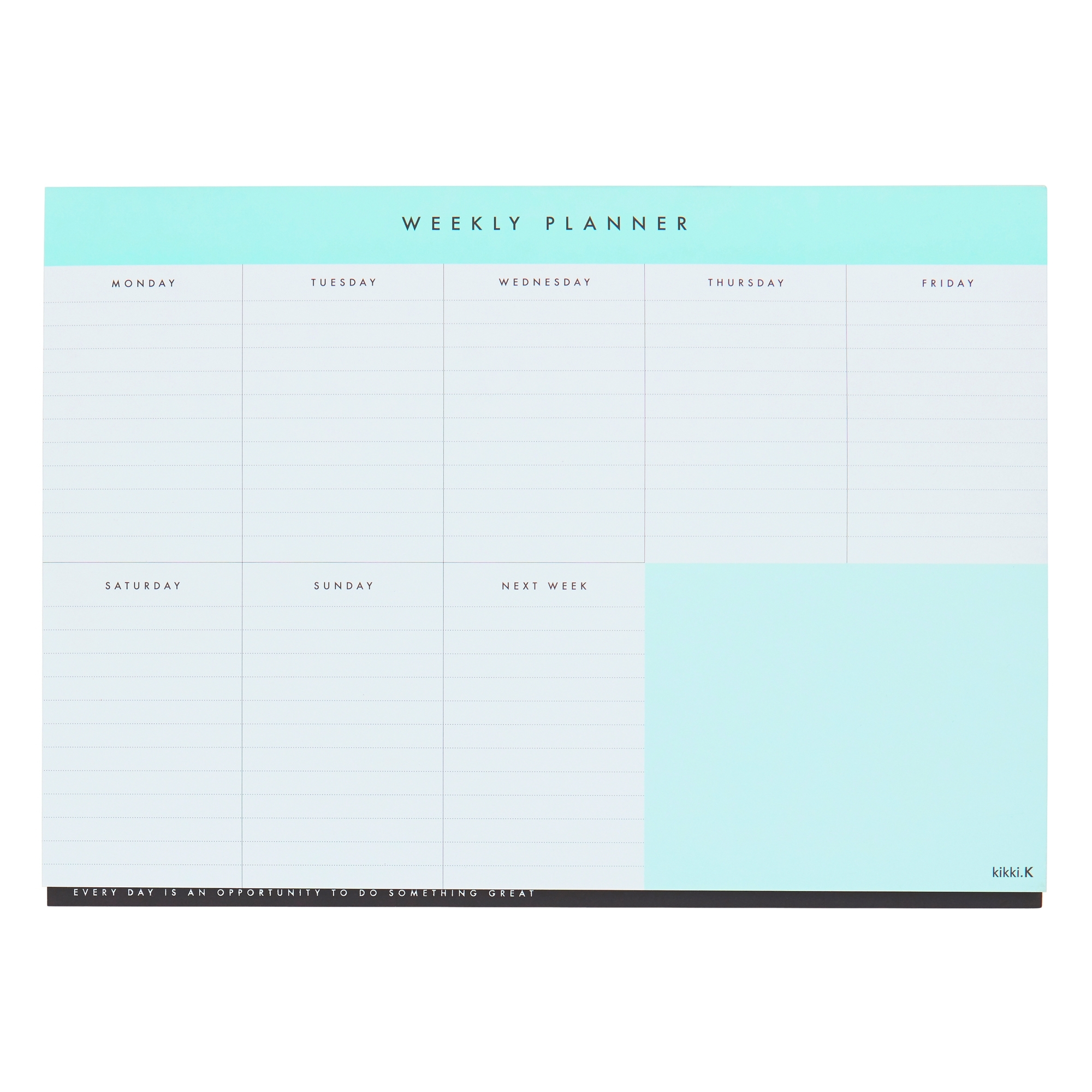 A4 Weekly Planner Pad Mint: Essentials