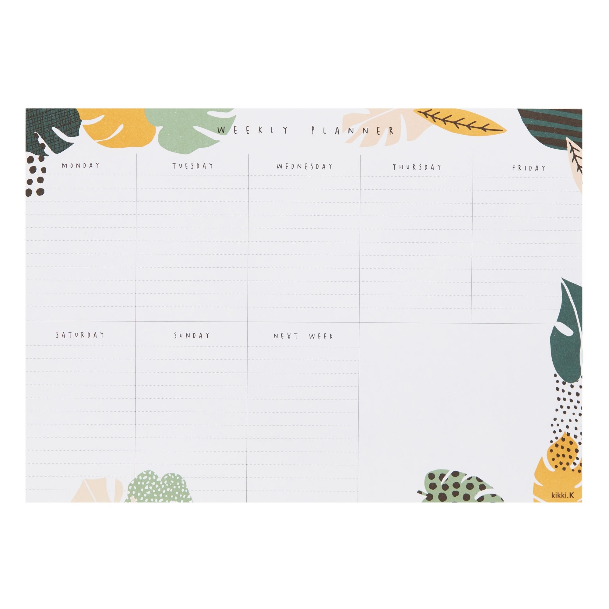 A4 Weekly Planner Pad White/evergreen: Living Well