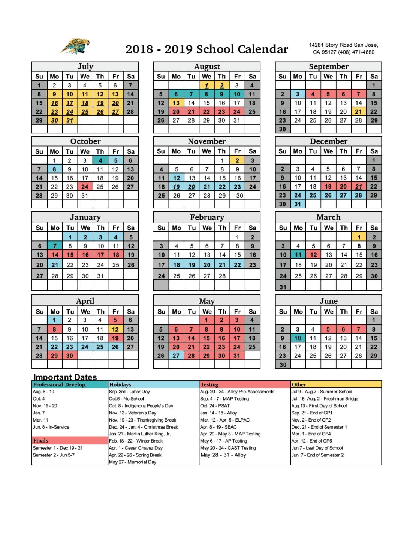 Academic Calendar - Miscellaneous - Roberto Cruz Leadership