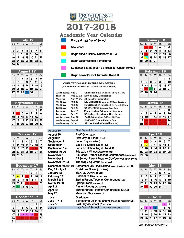 Academic Calendar - Providence Academy