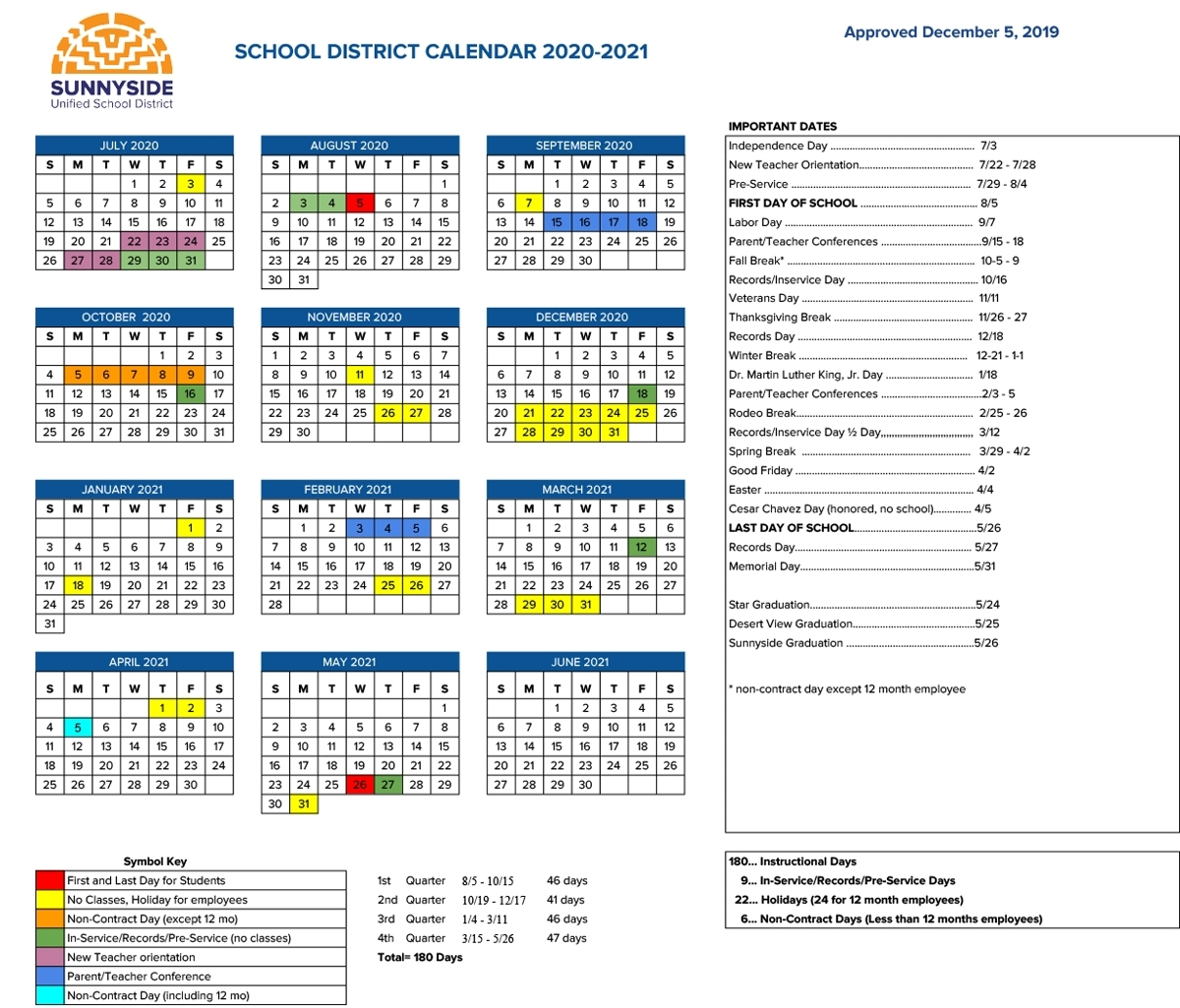 Academic Calendar | Sunnyside Unified School District