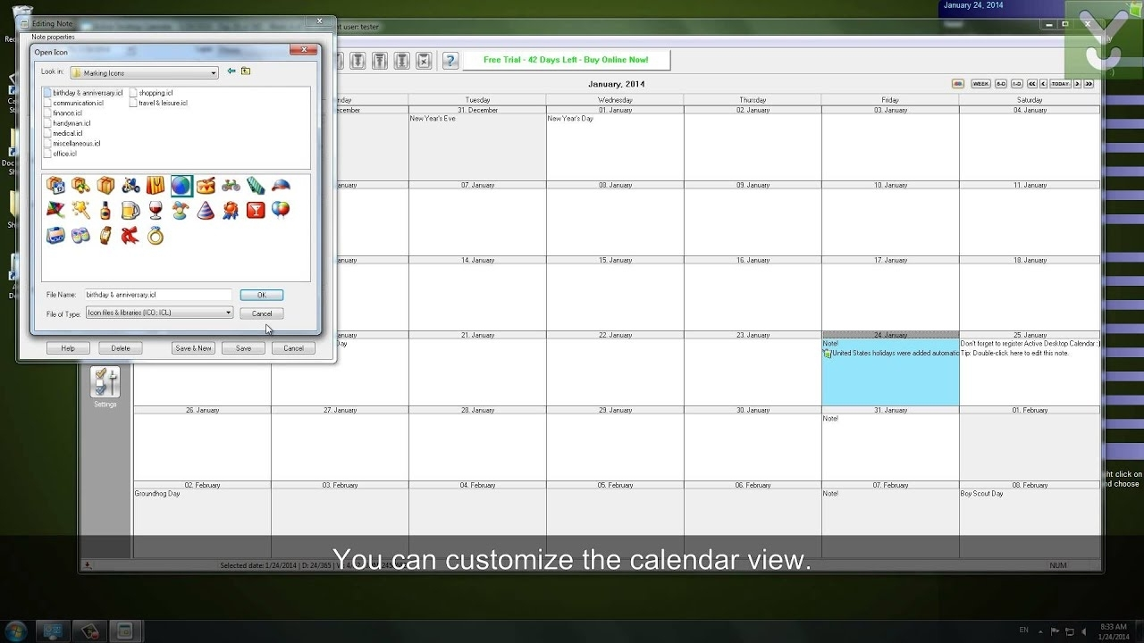 Active Desktop Calendar - Set A Customizable Calendar As Your Wallpaper -  Download Video Previews