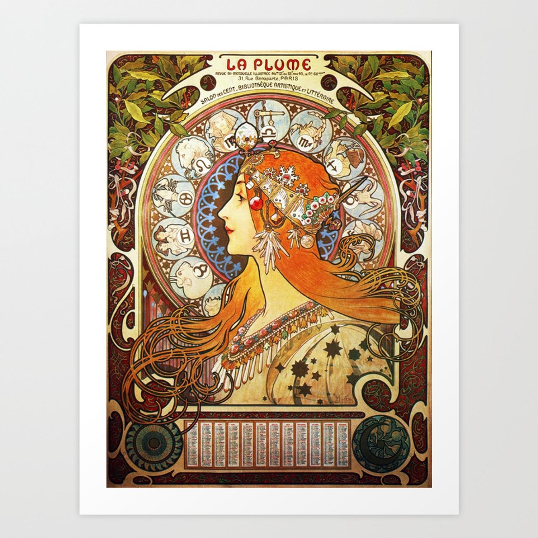 Alphonse Mucha La Plume Zodiac Art Printartgallery
