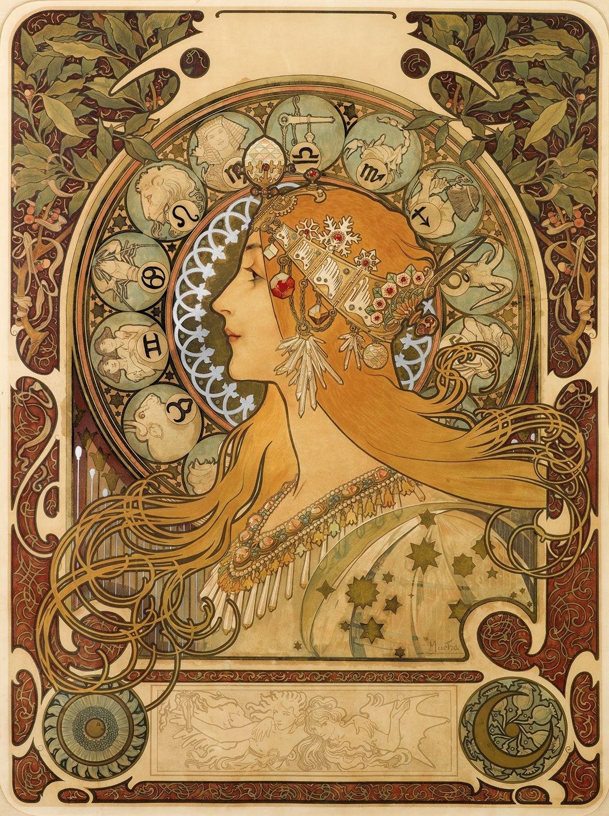 Alphonse Mucha, La Plume — Zodiac Calendar, 1897 In 2020