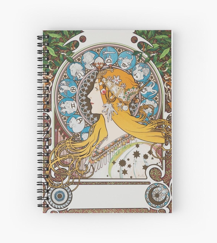 'alphonse Mucha Zodiac Calendar For La Plume 1897 Vintage Art Nouveau  Zodiac Long Hair Woman Hd' Spiral Notebookiresist