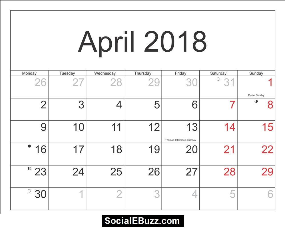 April 2018 Calendar Printable Template With Holidays Pdf Usa