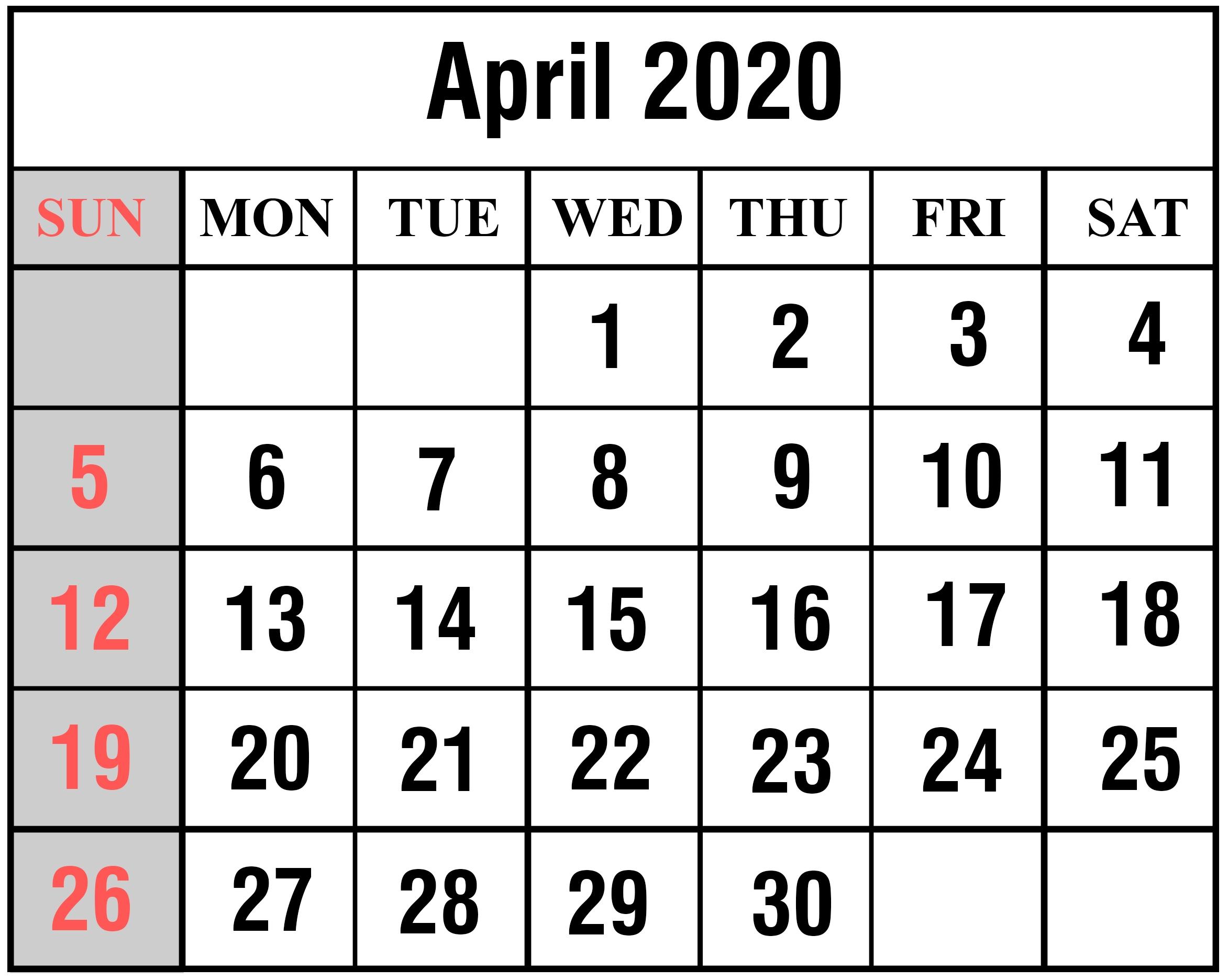 April 2020 Calendar Printable Template In Pdf, Word, Excel