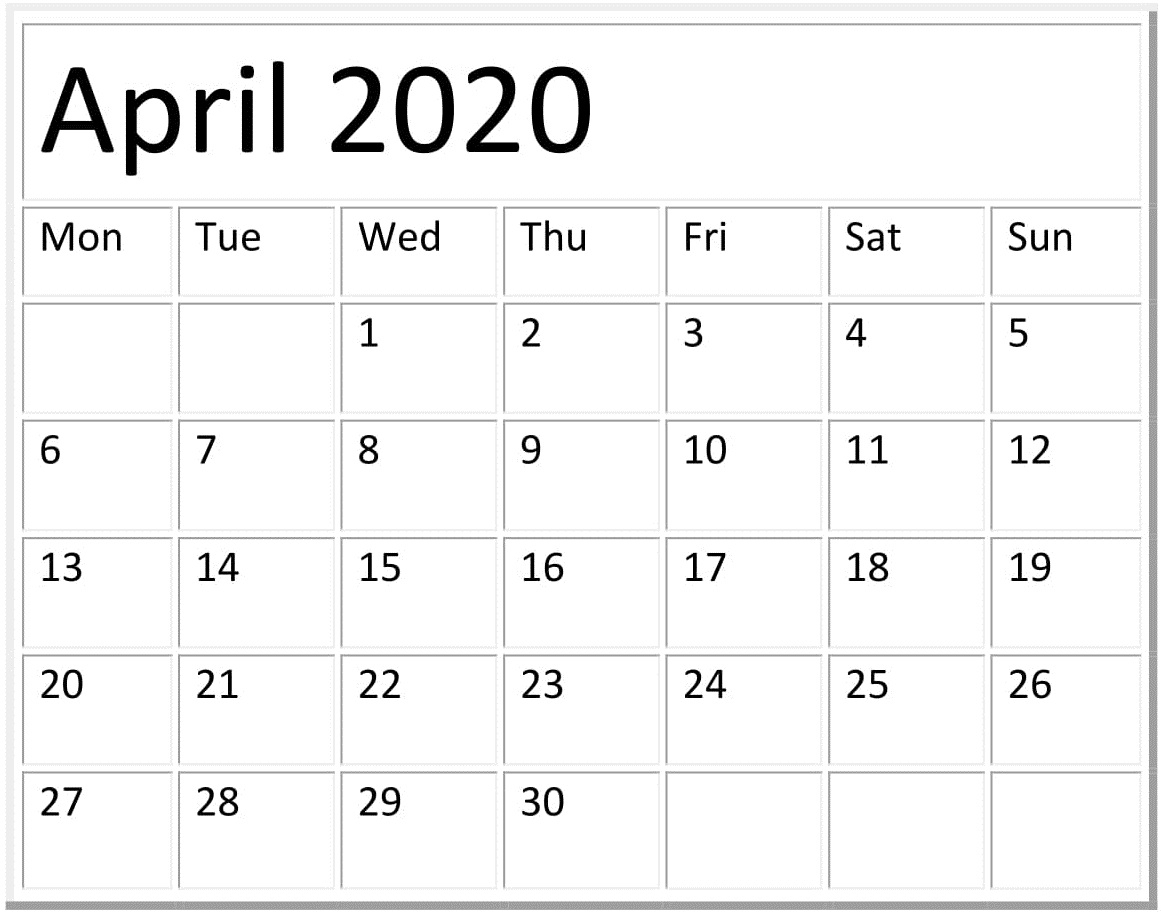April 2020 Calendar Template Pages Free Download
