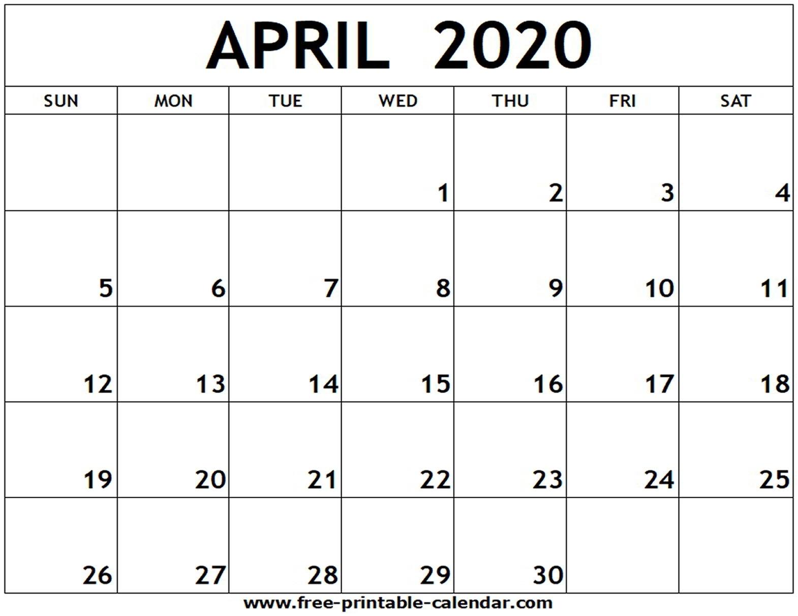 April 2020 Printable Calendar - Free-Printable-Calendar