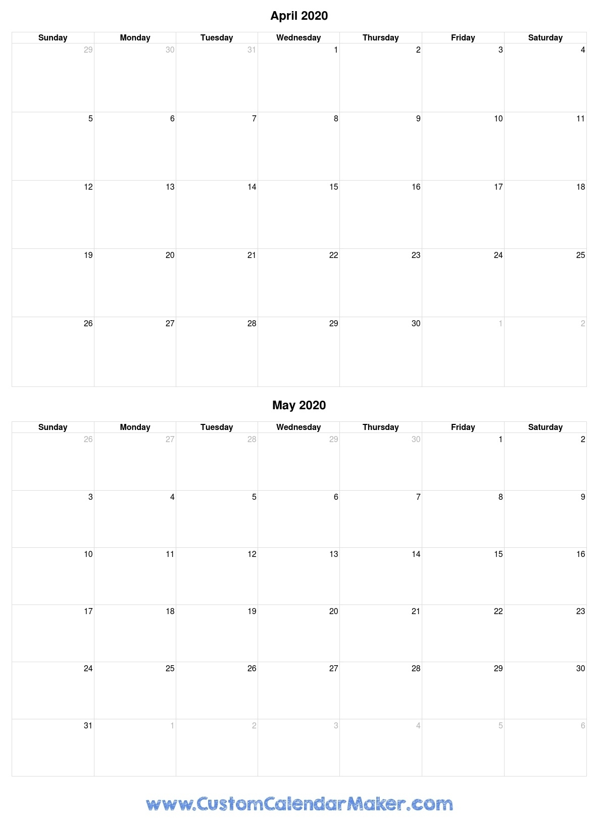 April And May 2020 Printable Calendar Template Free