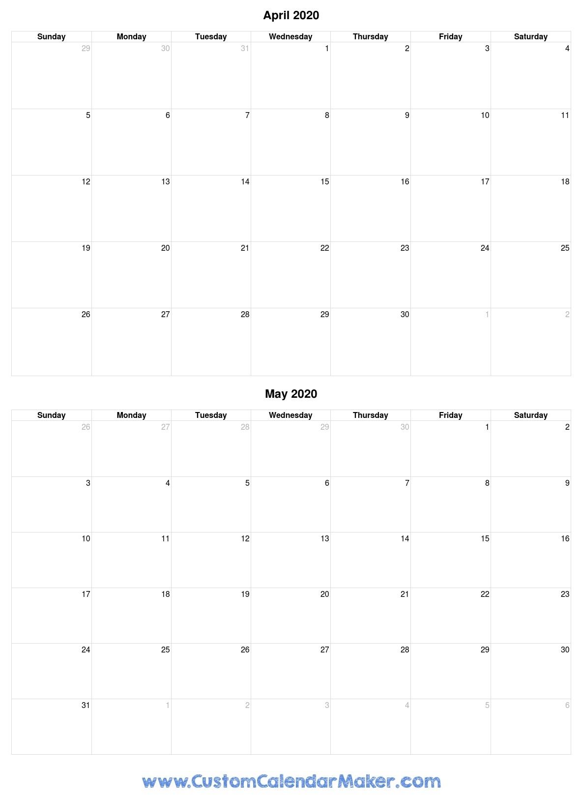 April And May 2020 Printable Calendar Template Free