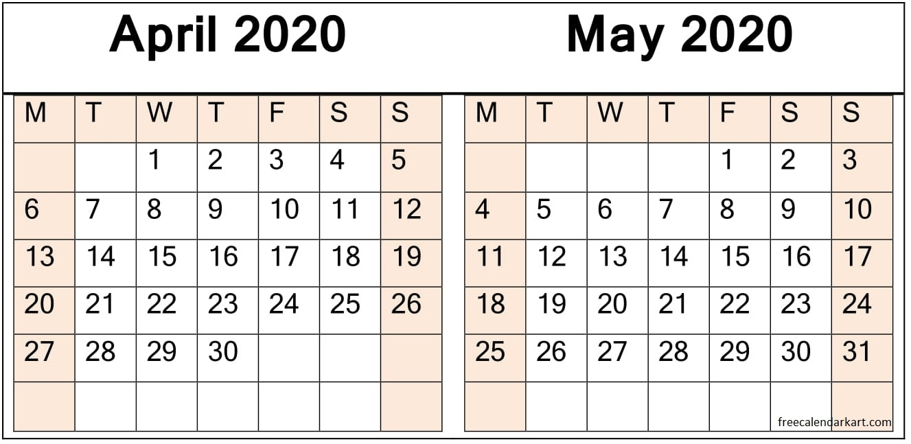 April May 2020 Calendar Pdf Download - Latest Printable